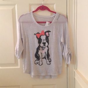 Justice gray Boston terrier long sleeve blouse